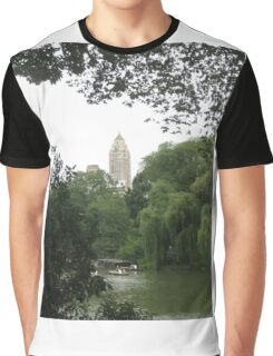 New York Central Park Boating on the Lake View Graphic T-Shirt