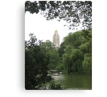 New York Central Park Boating on the Lake View Canvas Print