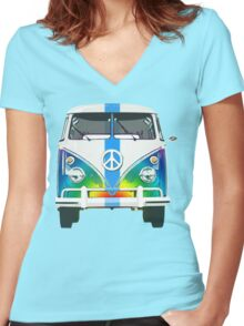 Retro Classic Volkswagen Hippy Van Women's Fitted V-Neck T-Shirt