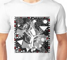 black and white abstract with touch of red Unisex T-Shirt