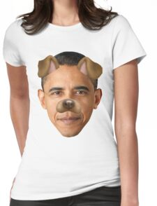 Obama Dog Filter Womens Fitted T-Shirt