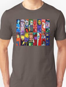80s Totally Radical Cartoon Spectacular!!! ENTER THE VILLAINS! T-Shirt