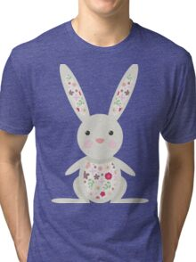 Cute Bunny with Flowers   Tri-blend T-Shirt
