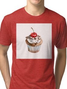 Cupcake on white Tri-blend T-Shirt