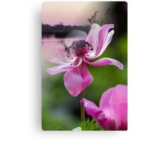 landscape lake and flower Canvas Print