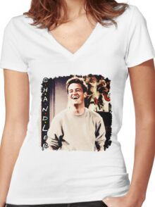 Friends --- Chandler Bing Women's Fitted V-Neck T-Shirt