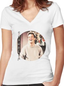 Friends --- Chandler Bing (v2) Women's Fitted V-Neck T-Shirt