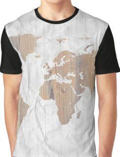 World map wood Graphic T-Shirt