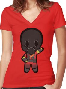 Chibi Pyro Women's Fitted V-Neck T-Shirt
