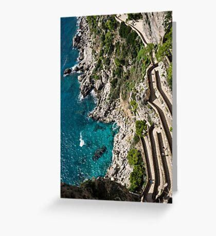 Long and Twisted Walk to the Shore - Azure Magic of Capri Greeting Card