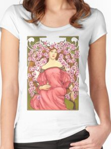 Girl with Cherry Blossoms: original hand-drawn illustration inspired by Alphonse Mucha  Women's Fitted Scoop T-Shirt