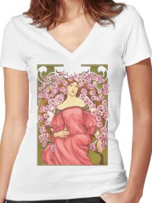 Girl with Cherry Blossoms: original hand-drawn illustration inspired by Alphonse Mucha  Women's Fitted V-Neck T-Shirt