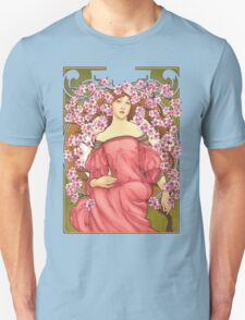 Girl with Cherry Blossoms: original hand-drawn illustration inspired by Alphonse Mucha  Unisex T-Shirt