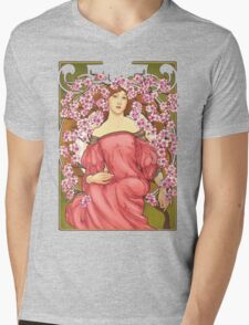 Girl with Cherry Blossoms: original hand-drawn illustration inspired by Alphonse Mucha  Mens V-Neck T-Shirt