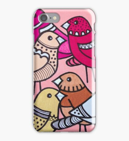Colourful birds in pink iPhone Case/Skin