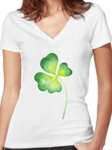 Clover Women's Fitted V-Neck T-Shirt
