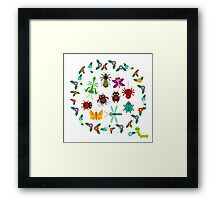 Funny insects circle Framed Print