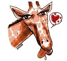 cartoon style lovely giraffe orange Photographic Print
