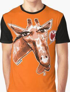 cartoon style lovely giraffe orange Graphic T-Shirt