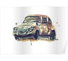 Retro car watercolor drawing. Poster