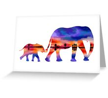 Elephant  Sunset  Silhouette  Greeting Card