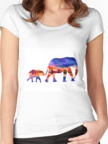 Elephant  Sunset  Silhouette  Women's Fitted Scoop T-Shirt
