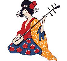 Geisha playing shamisen Photographic Print
