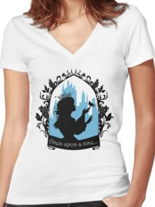 Beautiful  princess silhouette with singing bird Women's Fitted V-Neck T-Shirt