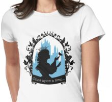Beautiful  princess silhouette with singing bird Womens Fitted T-Shirt