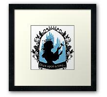 Beautiful  princess silhouette with singing bird Framed Print