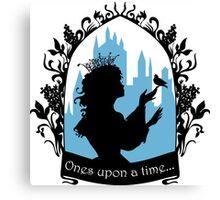 Beautiful  princess silhouette with singing bird Canvas Print