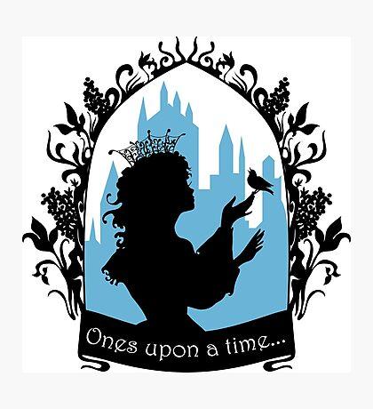 Beautiful  princess silhouette with singing bird Photographic Print