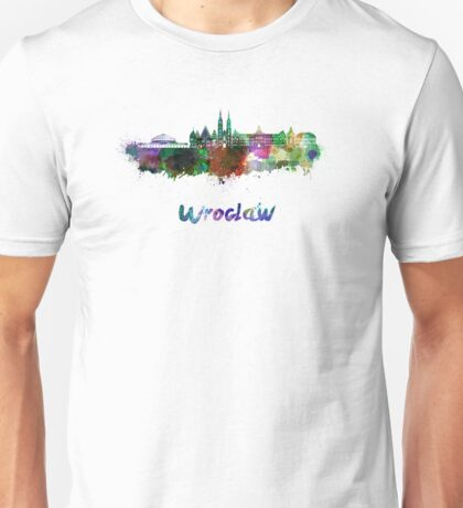 Wroclaw skyline in watercolor Unisex T-Shirt