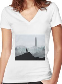 The 100 - Flat Landscape Women's Fitted V-Neck T-Shirt
