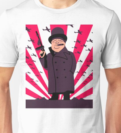 Churchill with a Tommy Gun Unisex T-Shirt