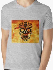 Fire Skull Mens V-Neck T-Shirt