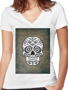 Modern Skull Women's Fitted V-Neck T-Shirt