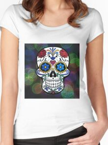 Skull with Bokeh Background Women's Fitted Scoop T-Shirt