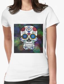 Skull with Bokeh Background Womens Fitted T-Shirt