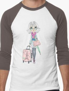 Fashion girl with suitcases Men's Baseball ¾ T-Shirt