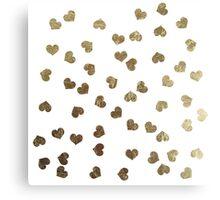 Glamorous Faux Gold Hearts Pattern Canvas Print