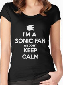 Sonic Fans Don't keep Calm B/W Edition Women's Fitted Scoop T-Shirt