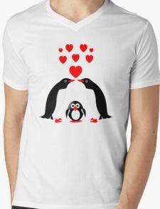 Penguins family Mens V-Neck T-Shirt