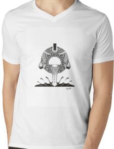 Aquarius Water-bearer Design in Black and White Mens V-Neck T-Shirt