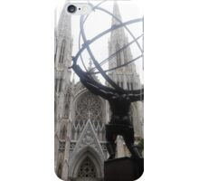 Atlas and St Patrick's Cathedral iPhone Case/Skin