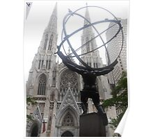 Atlas and St Patrick's Cathedral Poster