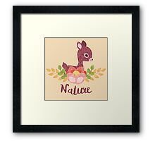 Little deer with flower and leaves Framed Print
