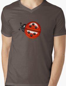 Red And White Ladybugs Pattern Mens V-Neck T-Shirt