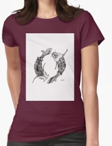 Pisces Fish Black and White Illustration  Womens Fitted T-Shirt