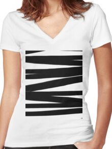 BLACK AND WHITE Lines Graphic P. Soulages Spirit Women's Fitted V-Neck T-Shirt